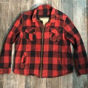 Men's Zip up Lightweight Flannel Jacket